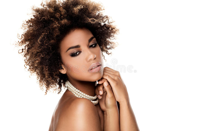 Retrato da beleza da mulher afro-americano elegante imagens de stock royalty free