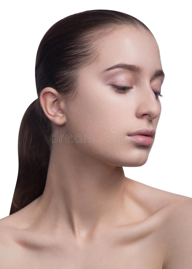 Retrato da beleza da mulher fresca nova alegre bonita Isolado no fundo branco imagens de stock