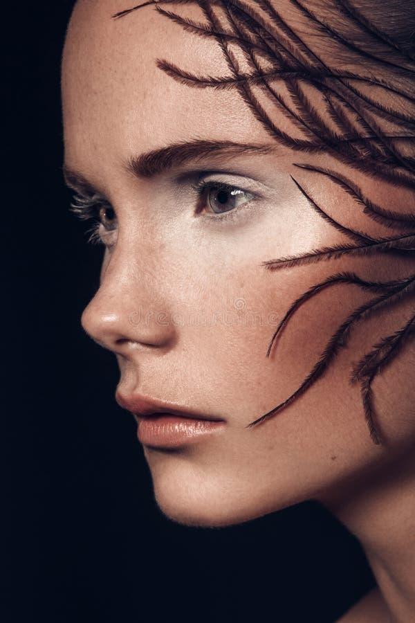 Retrato da beleza de uma moça europeia do cabelo marrom muito bonito, imagem de stock royalty free