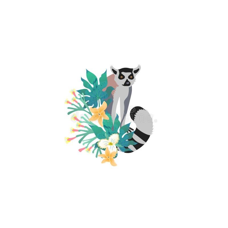 Retrato da cabeça de limur para diferentes desenhos e tatuagens Ícone do estilo cartoon da face animal fofa com flores tropicais, ilustração stock