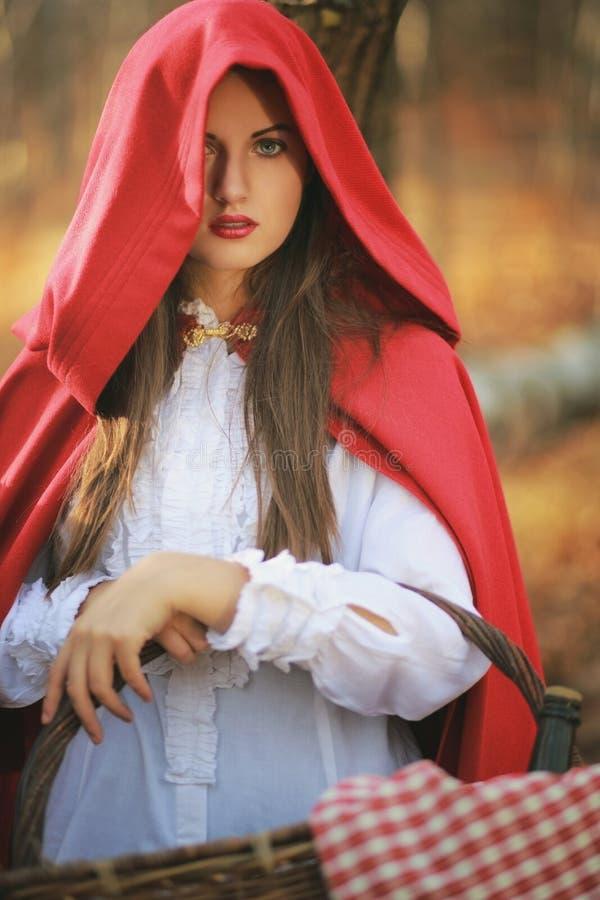 Retrato da capa de equitação vermelha pequena bonita imagem de stock