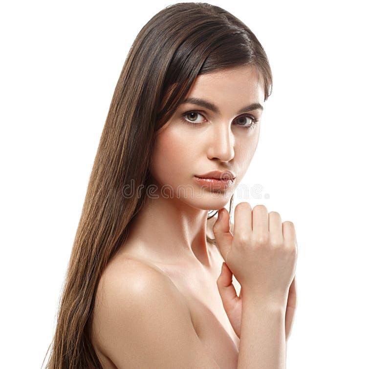 Retrato da cara da mulher da beleza Girl modelo bonito com pele limpa fresca perfeita fotos de stock royalty free