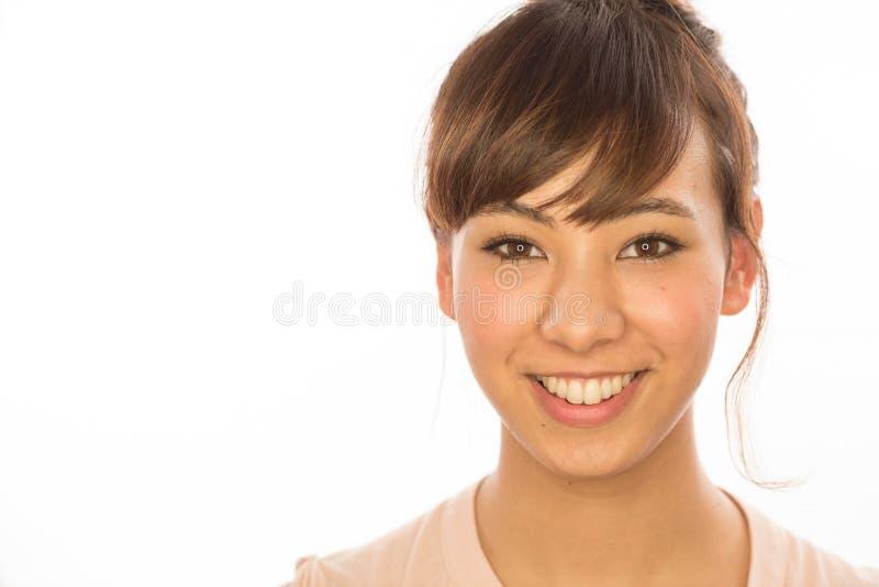 Retrato da cara do sorriso da mulher da menina de Latina do asiático foto de stock royalty free
