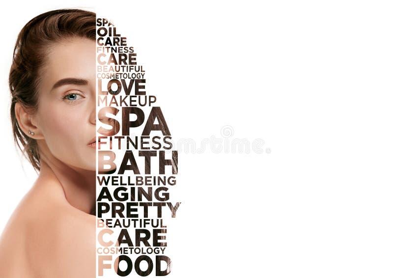 Retrato da cara da mulher da beleza com pele perfeita ilustração do vetor