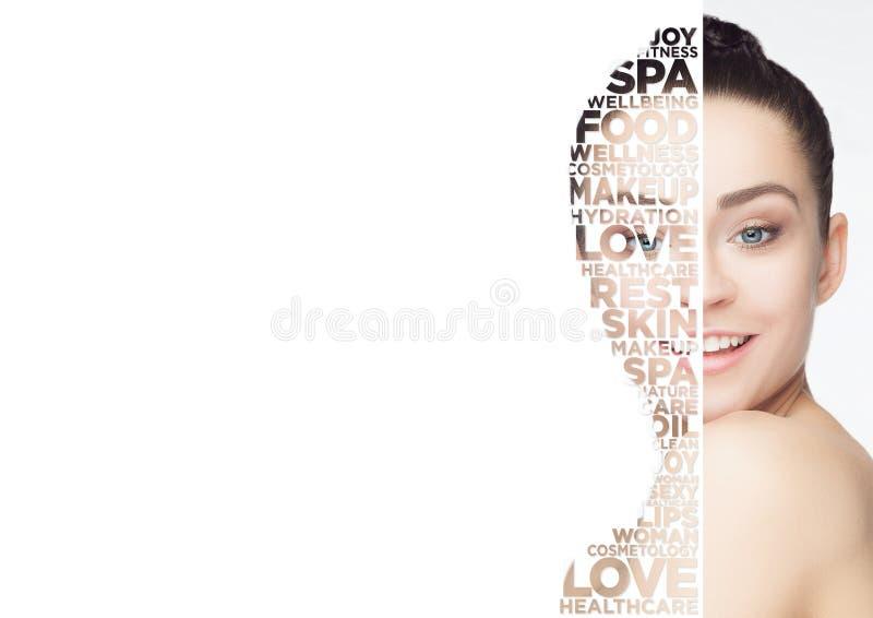 Retrato da cara da mulher da beleza com pele perfeita ilustração stock