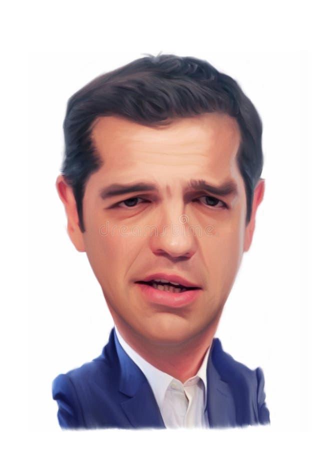 Retrato da caricatura de Alexis Tsipras ilustração do vetor