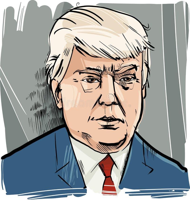 Retrato da caricatura de Donald Trump ilustração do vetor