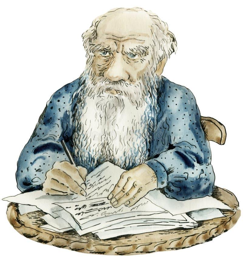 Retrato da caricatura de Leo Tolstoy ilustração stock