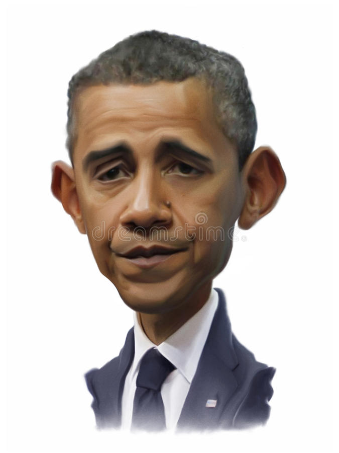 Retrato da caricatura de Obama ilustração royalty free