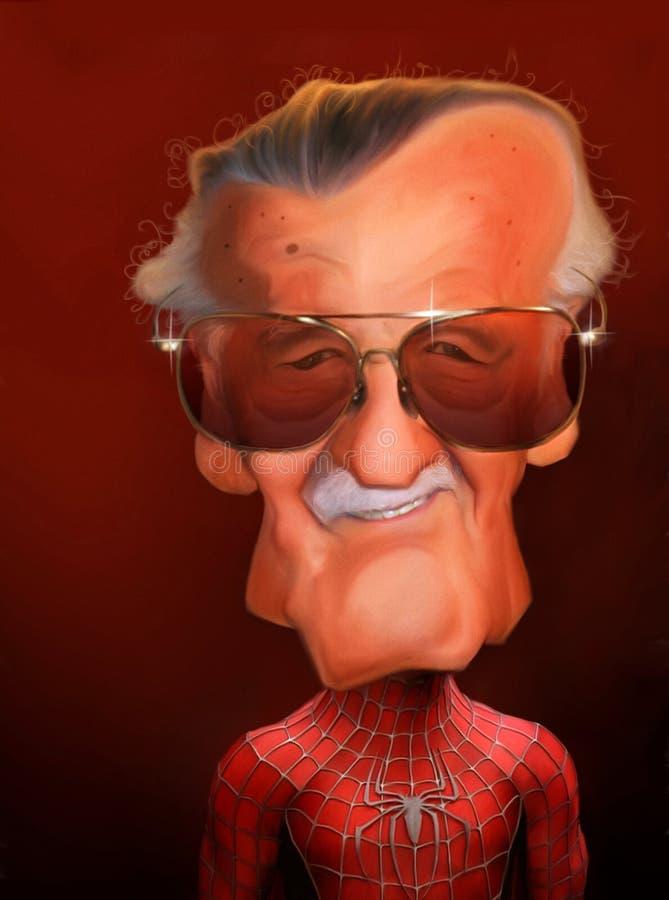 Retrato da caricatura de Stan Lee ilustração do vetor