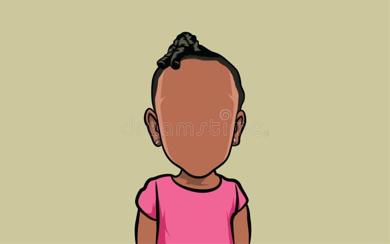 Retrato da caricatura dos desenhos animados, e penteado ilustração stock