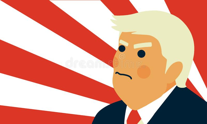 Retrato da caricatura da ilustração do vetor do presidente Donald Trump ilustração royalty free