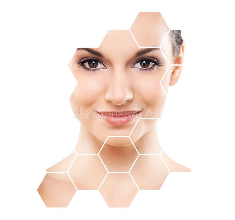 Retrato da cirurgia plástica da menina nova, saudável e bonita, da pele que levantam, dos termas, dos cosméticos e do conceito da fotos de stock