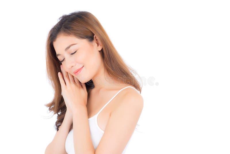 Retrato da composição asiática bonita da mulher do cosmético - mordente e sorriso do toque da mão da menina na cara atrativa com  fotos de stock