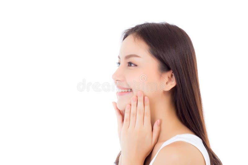 Retrato da composição asiática bonita da mulher do cosmético, do mordente do toque da mão da menina e do sorriso atrativos fotos de stock