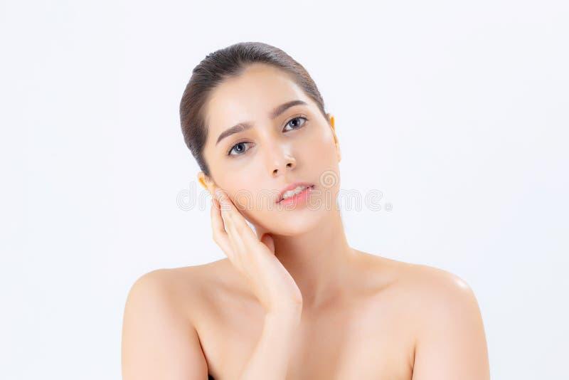 Retrato da composição asiática da mulher bonita do cosmético, mão da menina foto de stock