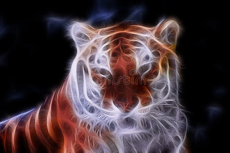 Retrato da cor do Fractal de um tigre selvagem imagens de stock