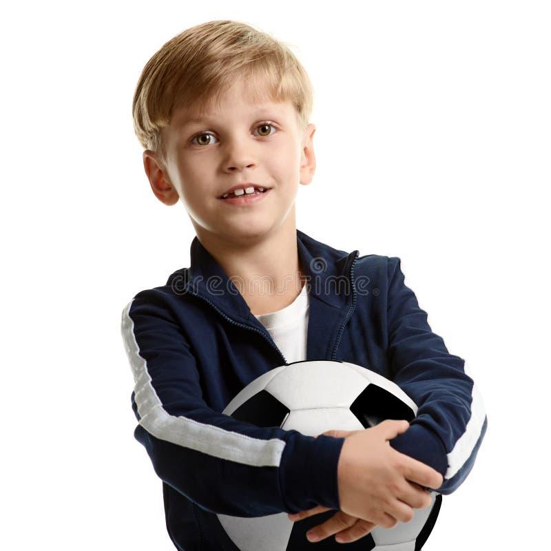 Retrato da criança do futebol foto de stock