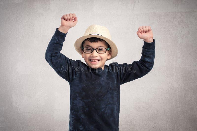 Retrato da criança feliz isolado no fundo branco fotografia de stock royalty free