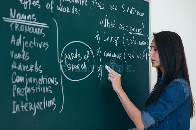 Retrato da escrita do professor da mulher no quadro-negro na sala de aula fotos de stock