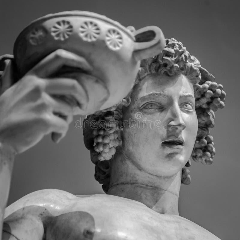 Retrato da estátua de Dionysus Bacchus Wine foto de stock royalty free