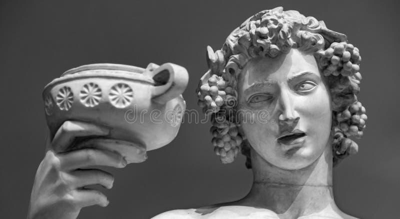 Retrato da estátua de Dionysus Bacchus Wine imagens de stock royalty free