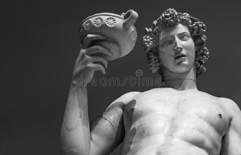 Retrato da estátua de Dionysus Bacchus Wine fotografia de stock