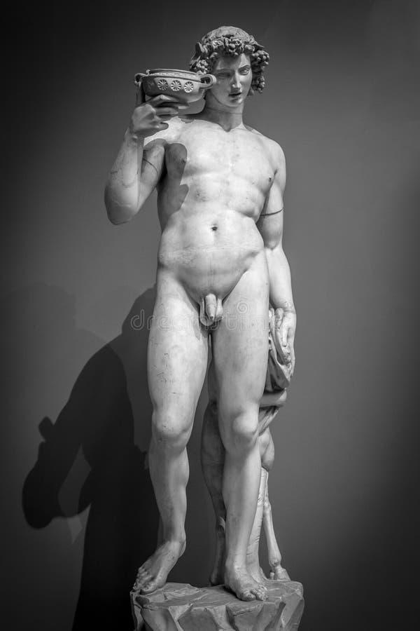Retrato da estátua de Dionysus Bacchus Wine foto de stock
