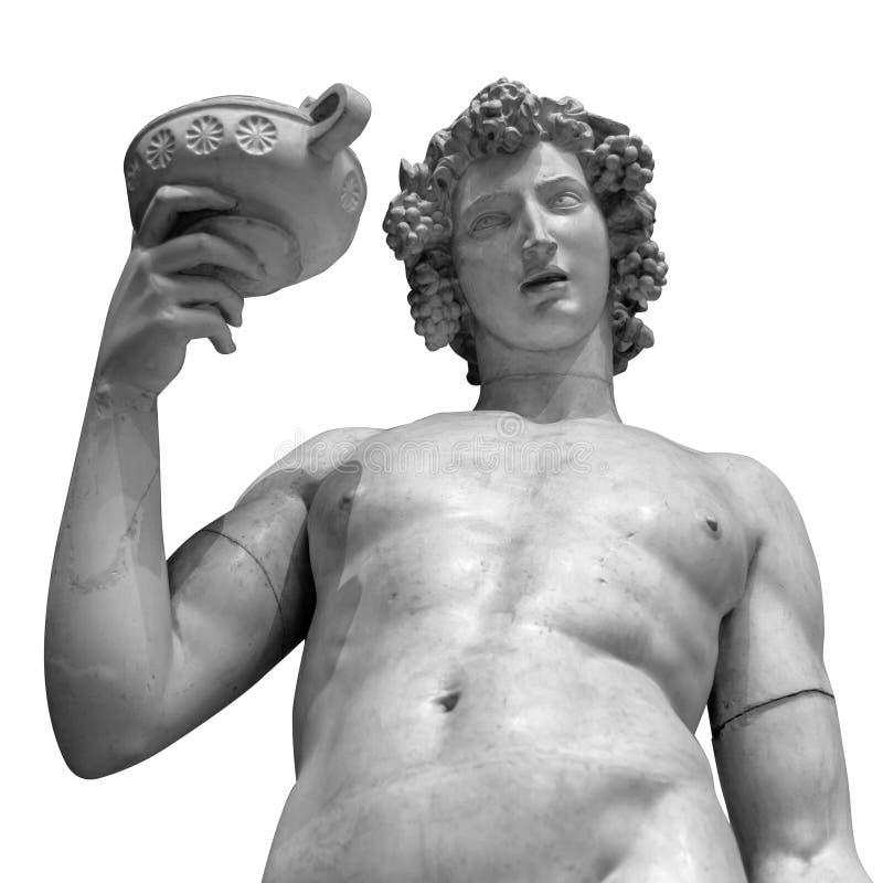 Retrato da estátua de Dionysus Bacchus Wine no branco imagens de stock royalty free