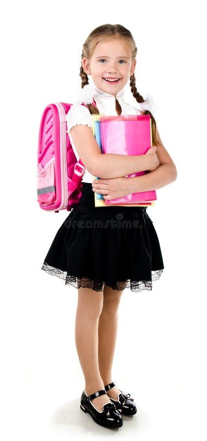 Retrato da estudante de sorriso com trouxa fotografia de stock