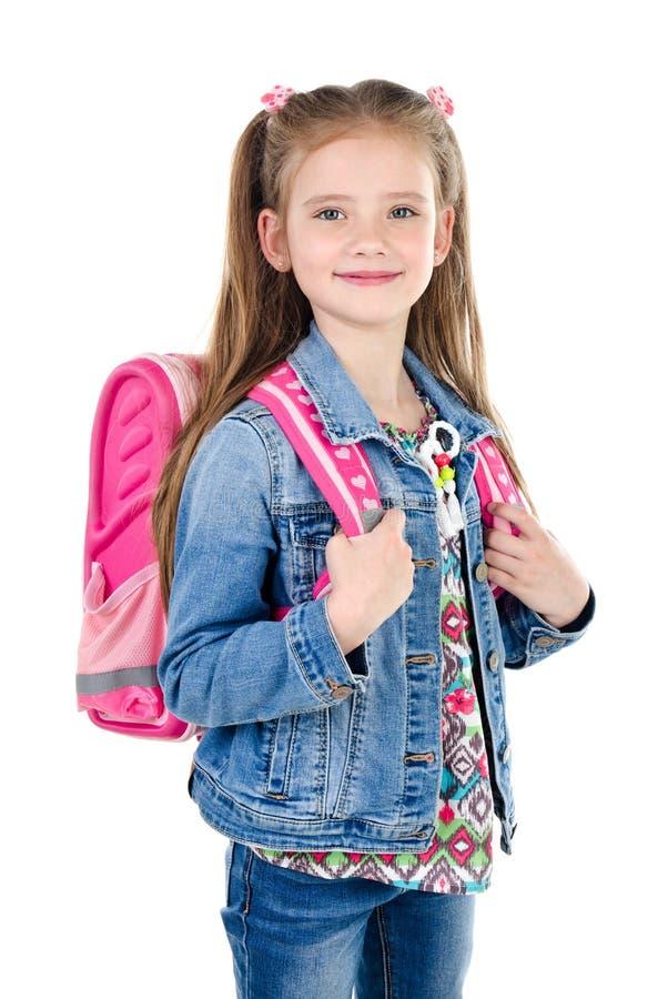 Retrato da estudante de sorriso com a trouxa isolada foto de stock