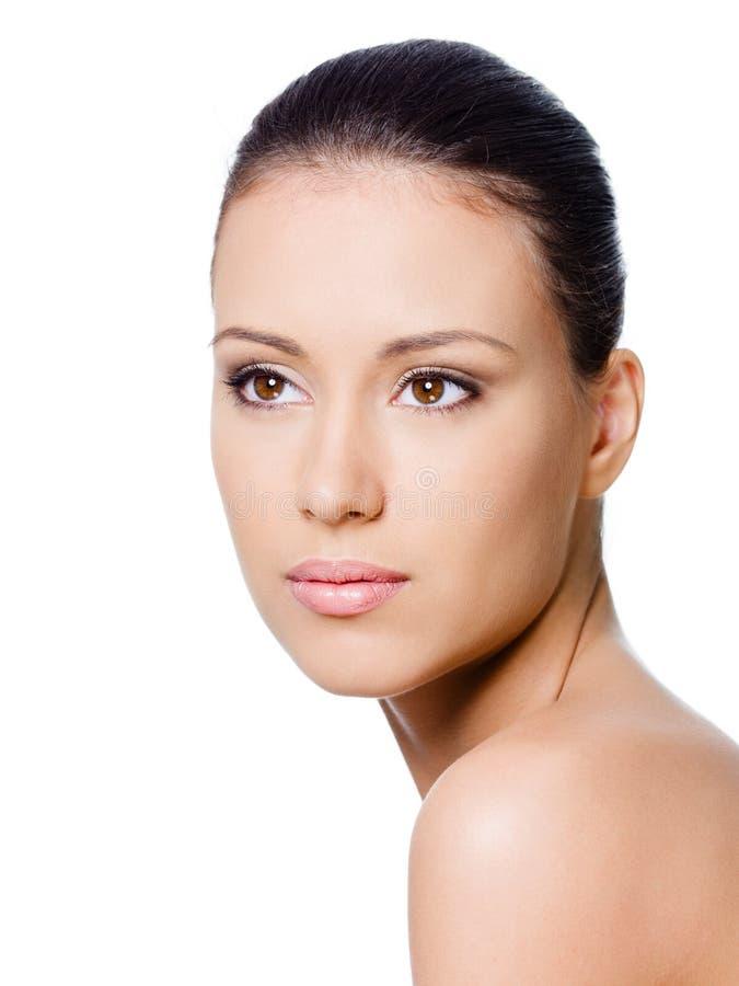 Retrato da face da mulher limpa foto de stock royalty free