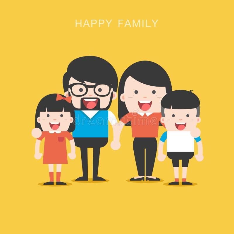 Retrato da família à moda feliz de quatro membros que levanta junto ilustração royalty free