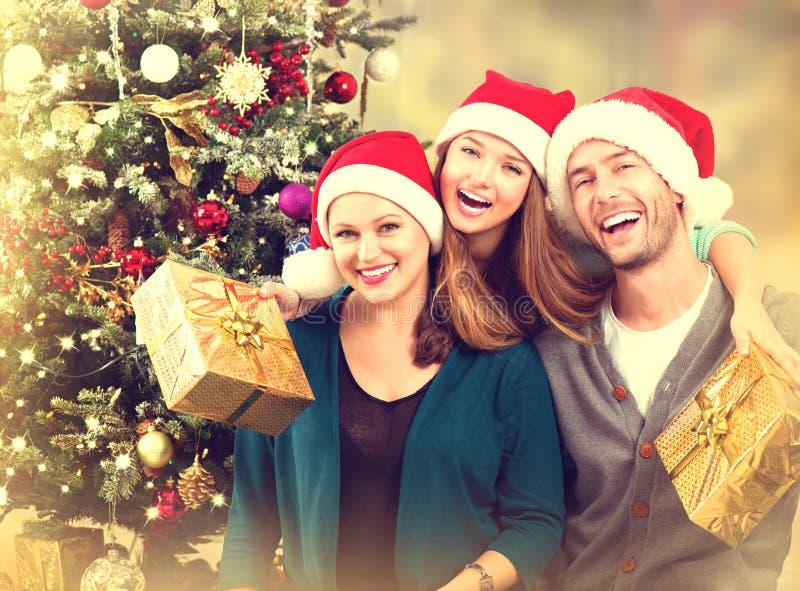 Retrato da família do Natal fotos de stock royalty free
