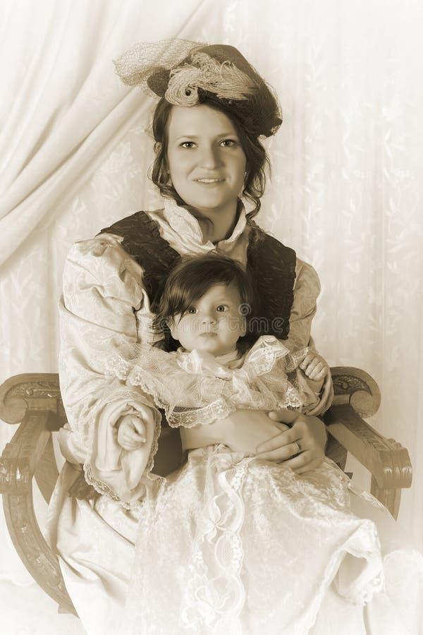 Retrato da família do vintage fotos de stock