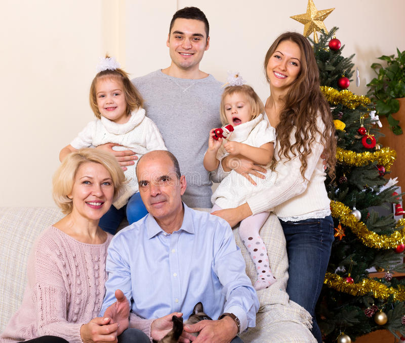 Retrato da família multigenerational grande imagem de stock