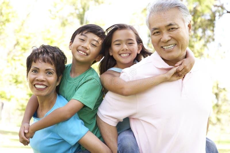 Retrato da família no parque fotos de stock royalty free
