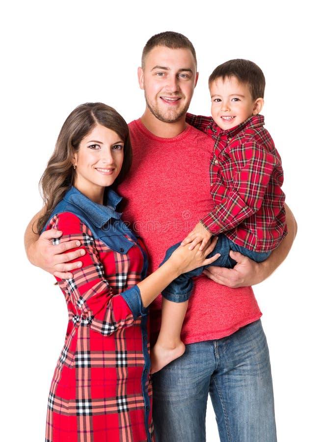 Retrato da família, pai Child da mãe, pais felizes e filho da criança fotografia de stock