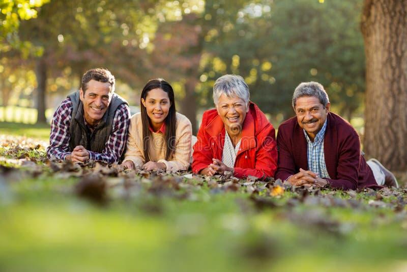 Retrato da família que encontra-se no parque foto de stock