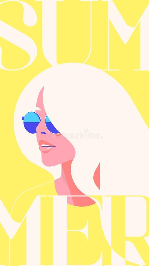 Retrato da forma do verão de uma menina modelo do blondie com óculos de sol Molde amarelo na moda retro das histórias da cor ilustração do vetor