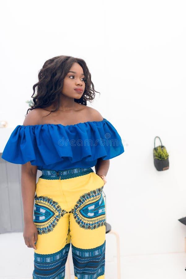 Retrato da forma da menina afro-americano bonita nova fotos de stock