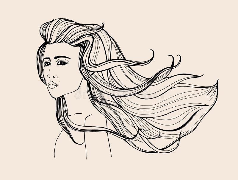 Retrato da forma Menina bonita com cabelo de fluxo longo Ilustração tirada mão do contorno ilustração royalty free