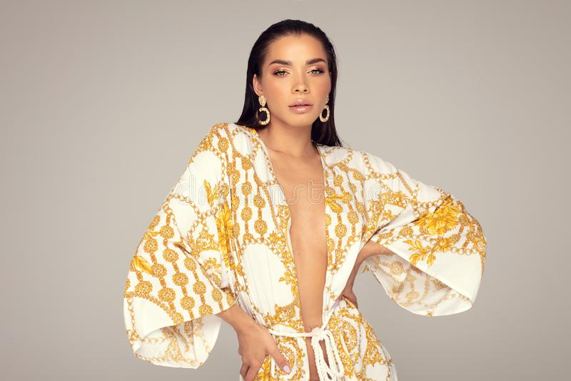 Retrato da forma da mulher elegante foto de stock royalty free