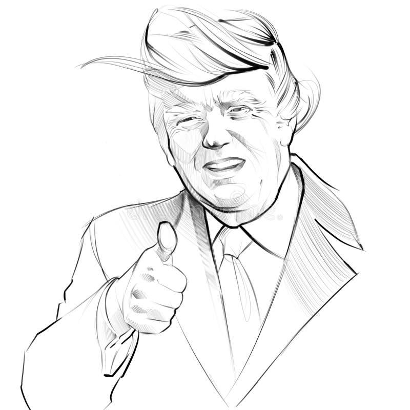 Retrato da ilustração de Digitas do presidente de EUA Donald Trump ilustração royalty free