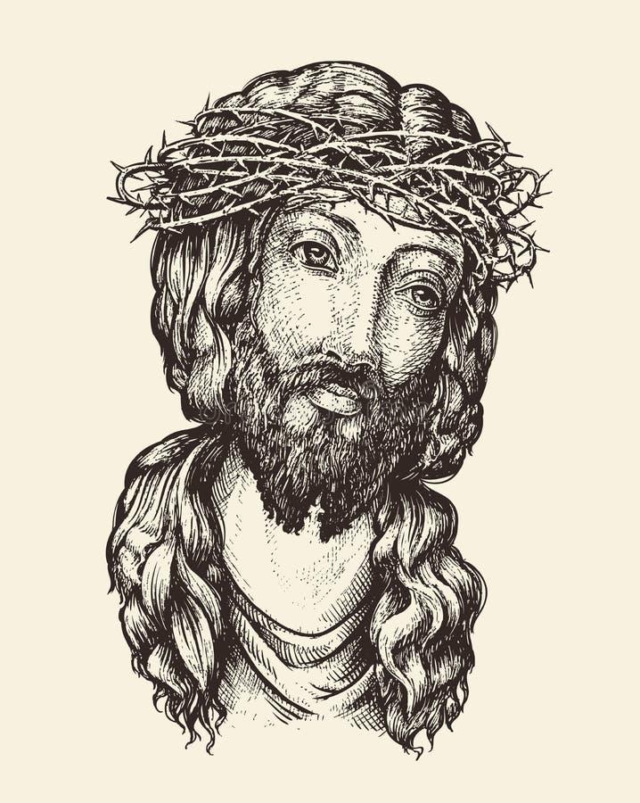 Retrato da ilustração tirada Jesus Christ Hand do vetor do esboço ilustração do vetor
