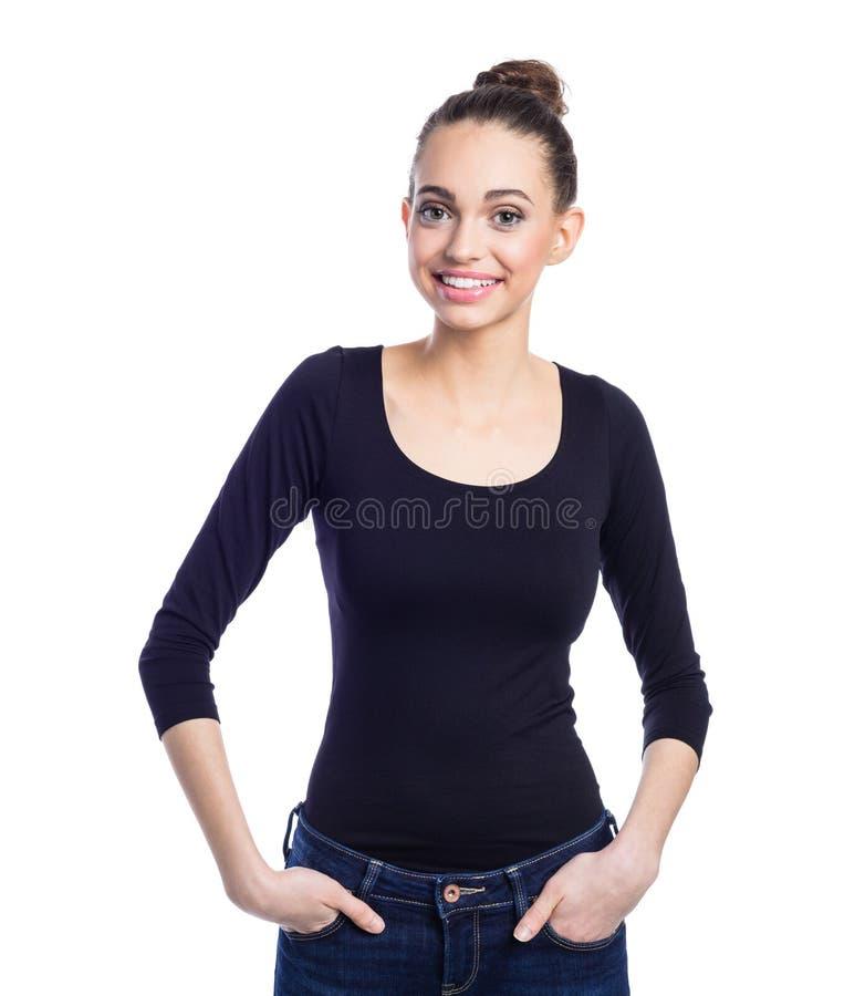 Retrato da jovem mulher alegre na roupa preta ocasional fotos de stock