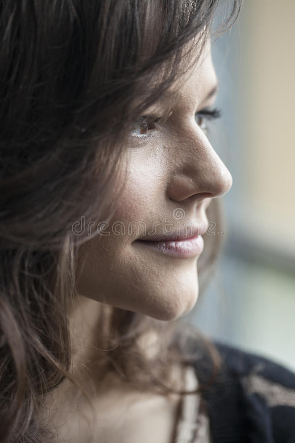 Retrato da jovem mulher bonita com cabelo de Brown imagens de stock