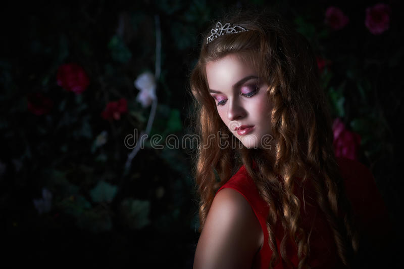 Retrato da jovem mulher bonita com penteado encaracolado imagem de stock