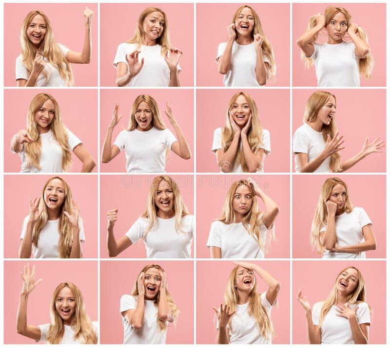 Retrato da jovem mulher com expressões faciais felizes e infelizes fotos de stock