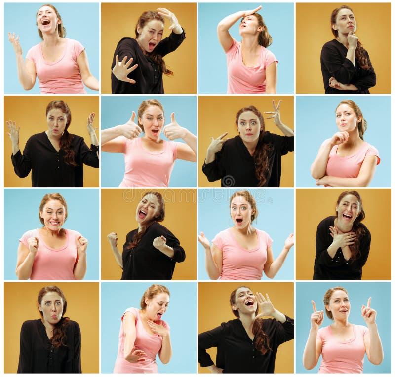 Retrato da jovem mulher com expressões faciais felizes e infelizes fotografia de stock